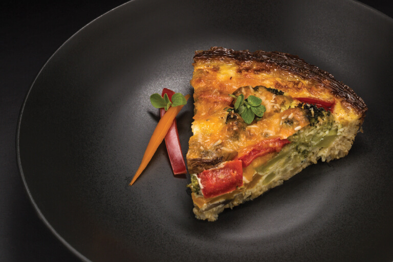 Cauliflower crust vegetable quiche recipe