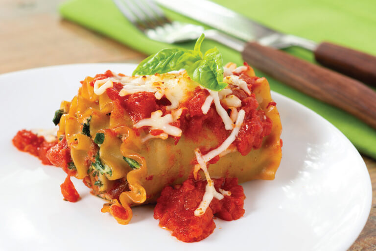 Spinach lasagna rolls recipe
